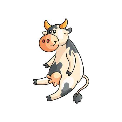 Funny smiling spotted cow sitting and listening isolated on white background. Farm animal character in good mood. Emoji sticker, design for products