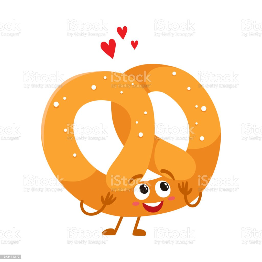 Funny soft and crispy German pretzel character with smiling face vector art illustration