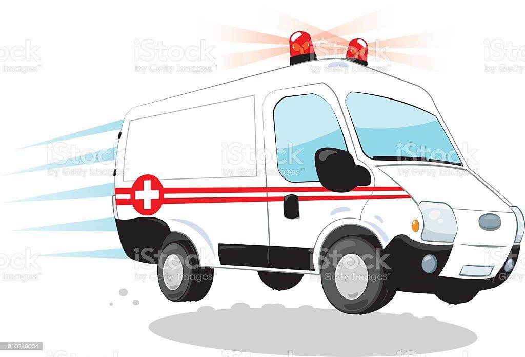 Funny speedy ambulance vector art illustration