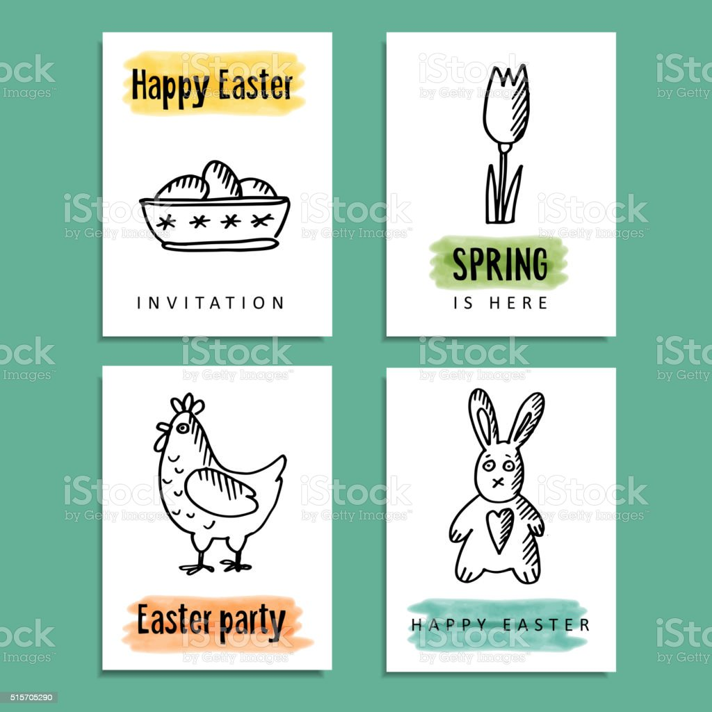 Funny Spring Easter Greeting Cards With Hand Drawn Doodles Royalty Free