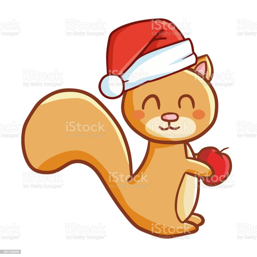 Lustiges Eichhörnchen Santas Hut Für Weihnachten Und Lächelnd Stock ...