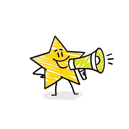 Doodle stick figures: Funny star speaks into a megaphone.