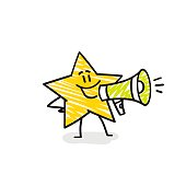 istock Funny star speaks into a megaphone. 1271203327