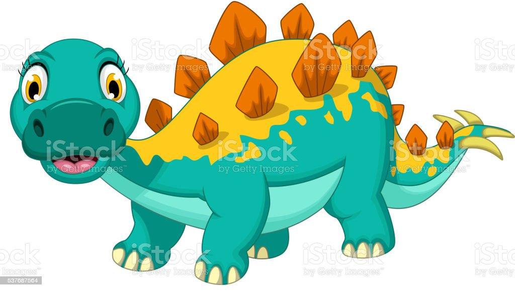 funny stegosaurus cartoon posing vector art illustration