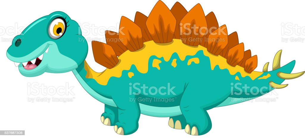 funny stegosaurus cartoon vector art illustration