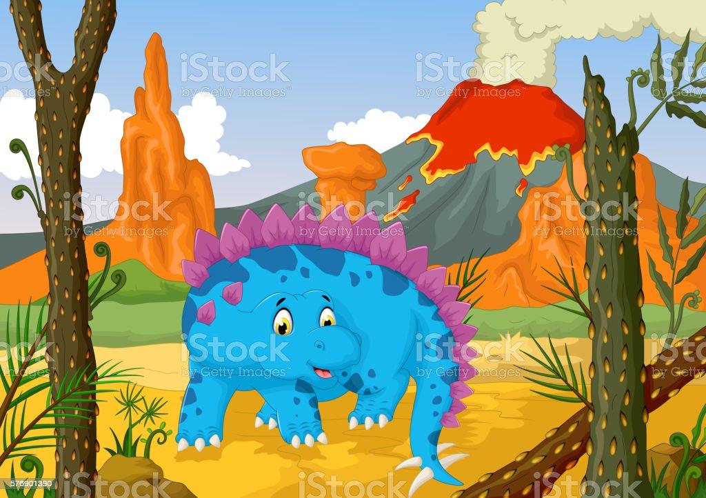funny stegosaurus cartoon with volcano landscape background vector art illustration