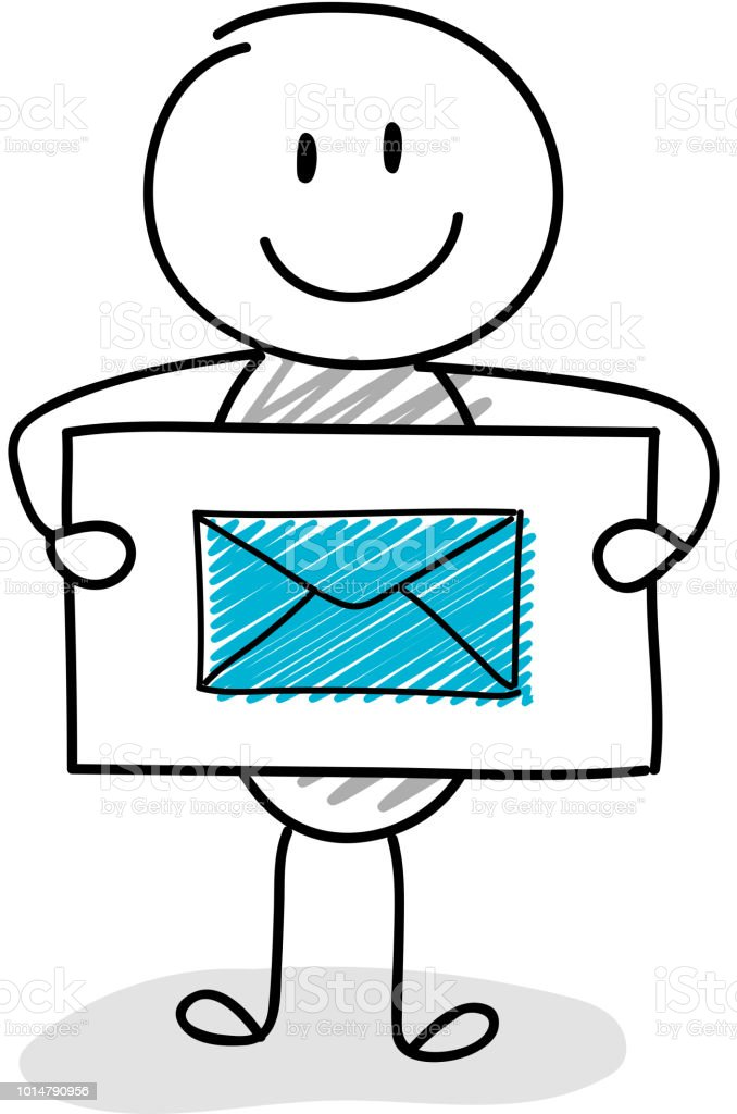 Funny stickman with e-mail icon. Vector. royalty-free funny stickman with