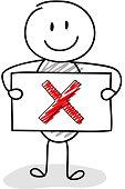 Funny stickman with x-mark (checkmark) icon. Vector.