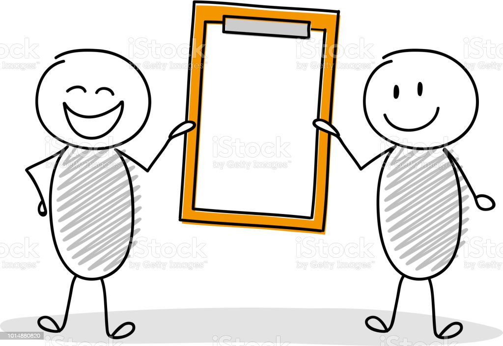 Funny stickmen with empty clipboard. Vector. vector art illustration
