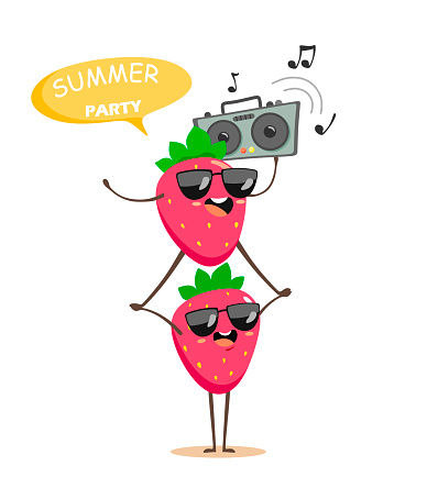 Funny strawberries on top of each other with a tape recorder dancing and listening to music. Cartoon characters in kawaii style at the summer party. Vector berries isolate.