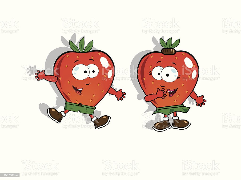 Funny strawberries vector art illustration