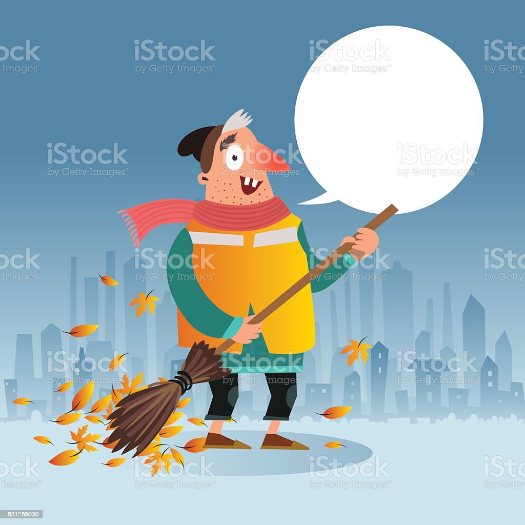 Funny street cleaner character with bubble for your text vector art illustration