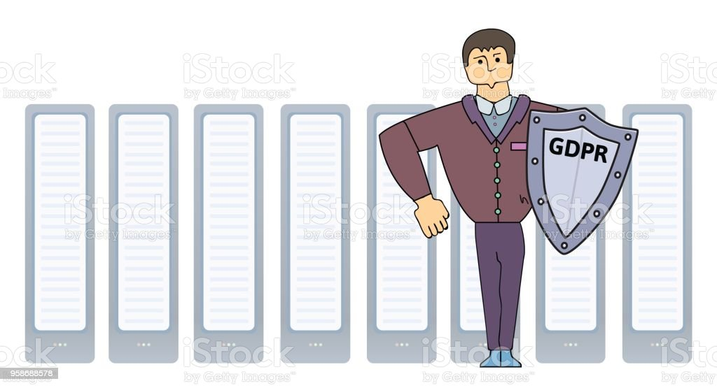 Funny strong man protecting servers with GDPR shield. Cartoon character. Simple vector illustration. Isolated on white background.