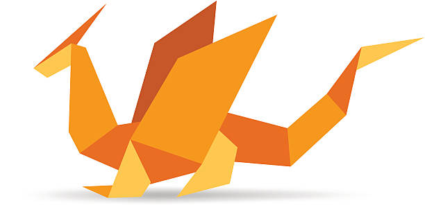 Funny Stylish Orange Origami Dragon Vector Art Illustration