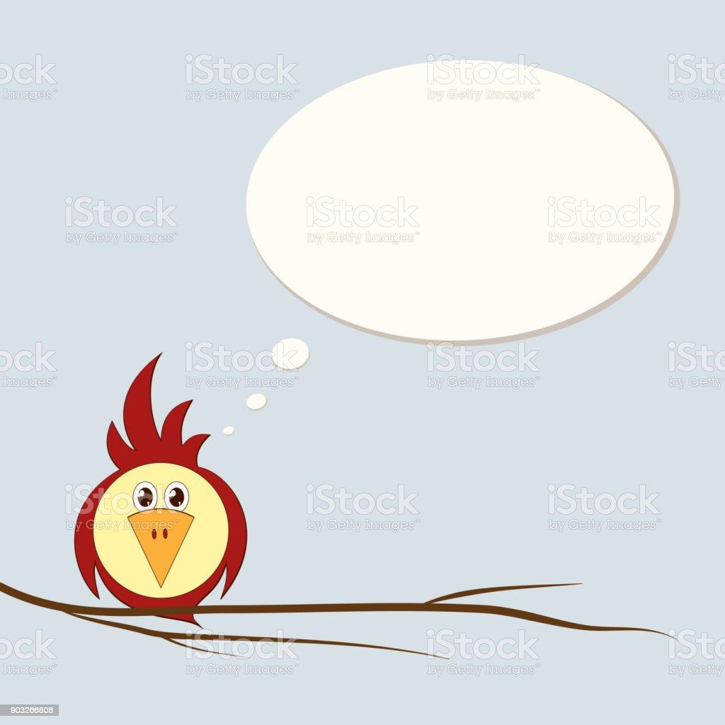 Ein Lustige Stilisierter Vogel Ist Ein Papagei Oder Ein Spatz Auf ...