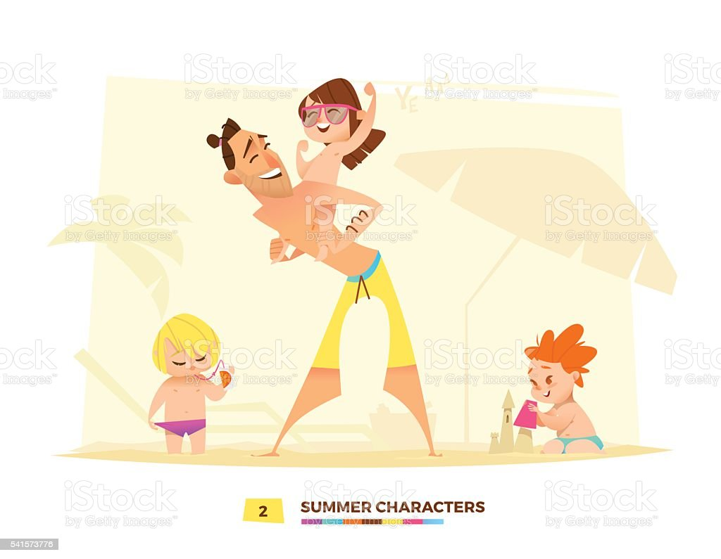 Funny summer characters in cartoon style vector art illustration