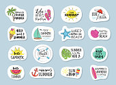 Funny summer typography with icons - big set. Vector.