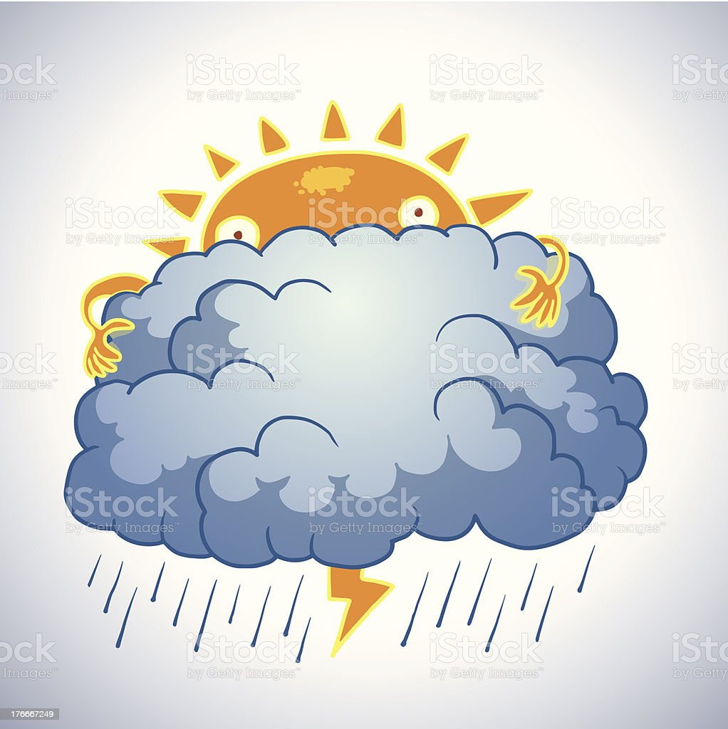 Funny sun hid behind a cloud royalty-free stock vector art