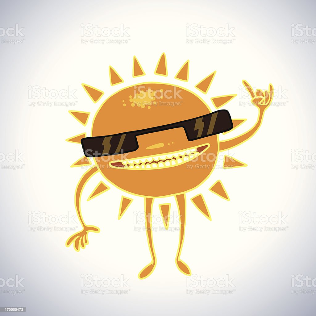 Funny sun in sunglasses royalty-free stock vector art