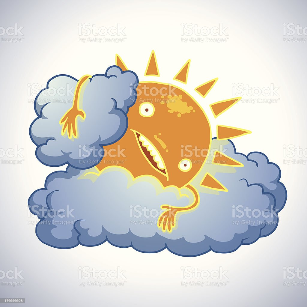 Funny sun lying on a cloud royalty-free funny sun lying on a cloud stock vector art & more images of abstract