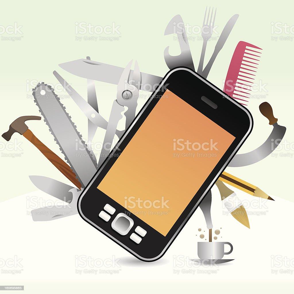 funny swissknife phone royalty-free stock vector art