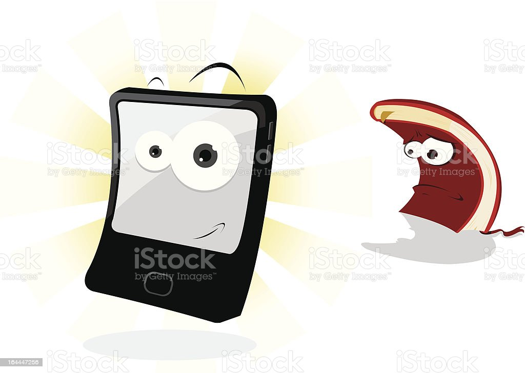 Funny Tablet and Sad Book royalty-free stock vector art