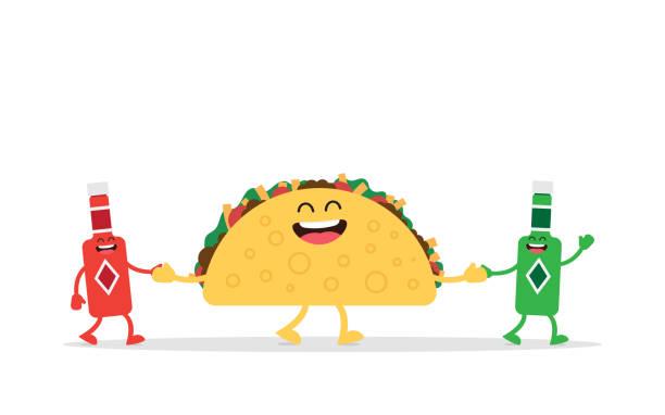 lustige taco mexikanisches essen - tortillas stock-grafiken, -clipart, -cartoons und -symbole