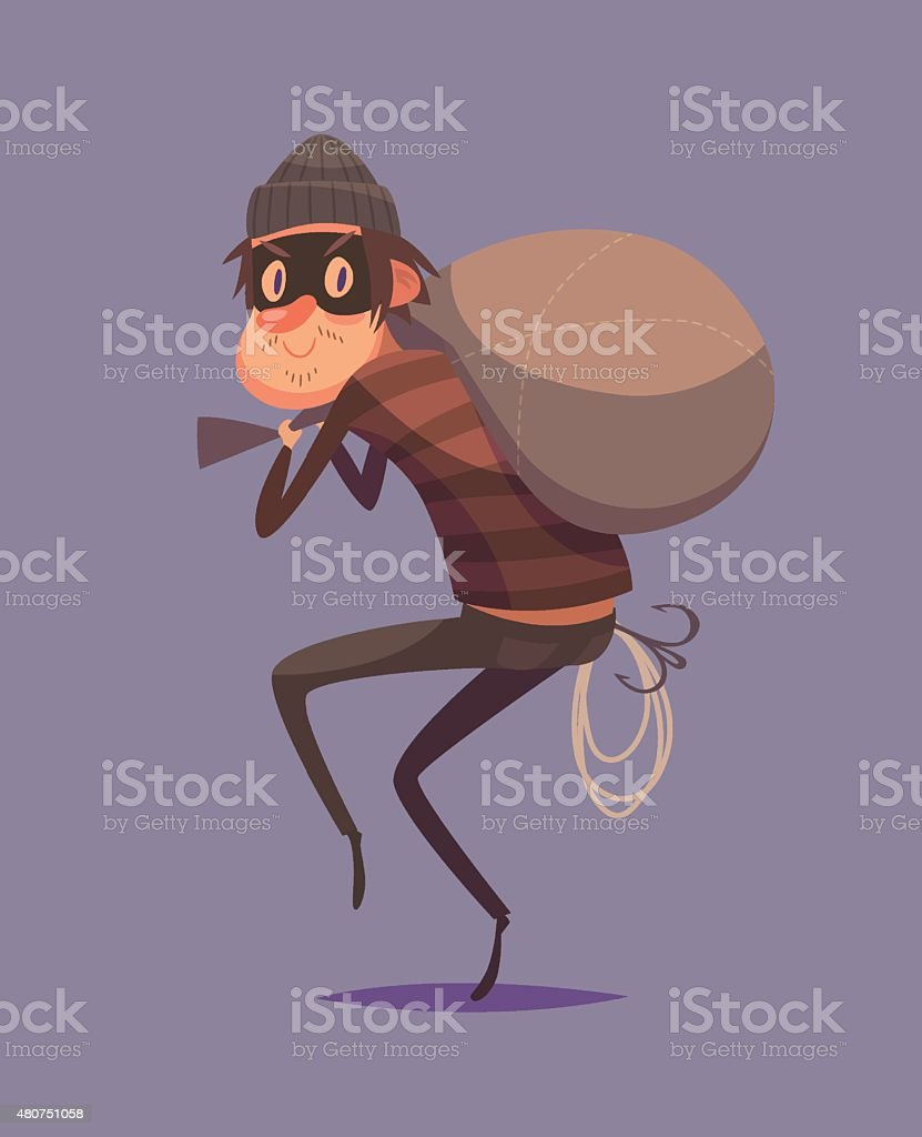 Funny thief character vector art illustration