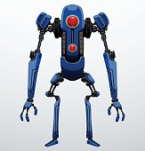 Funny thin blue robot