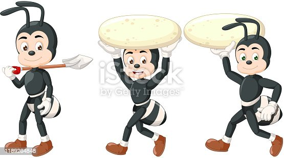 istock Funny Three Black Ants Carrying Shovel And White Big Rock Cartoon 1189264848