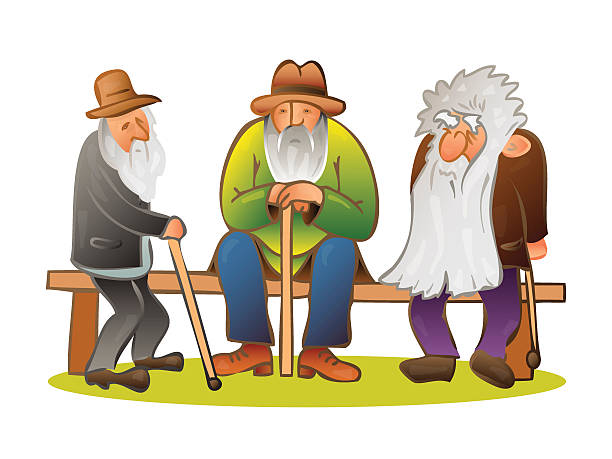 funny three old mens sitting on the bench vector - old man illustration pictures stock illustrations, clip art, cartoons, & icons