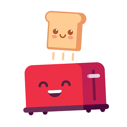 Funny toast and toaster