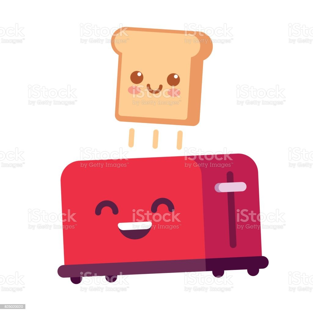 Funny toast and toaster vector art illustration