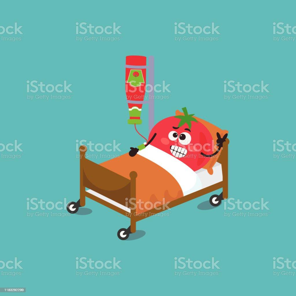 Funny Cartoon Hospital Pics funny tomato character tomato in a hospital bed stock