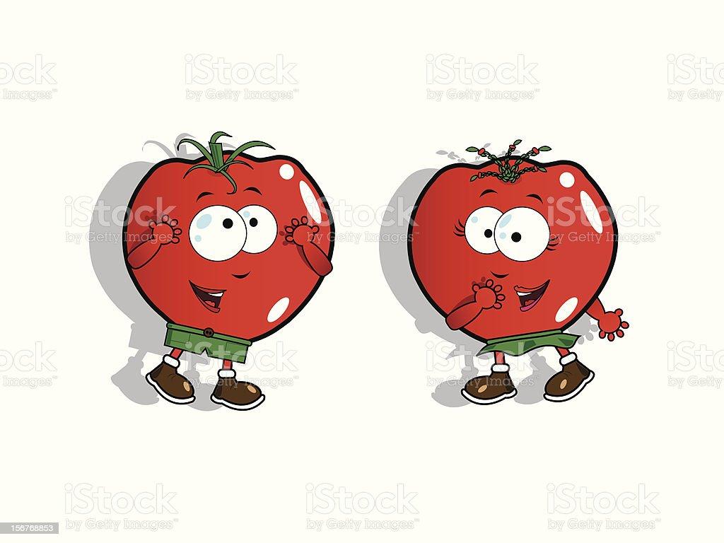 Funny tomatoes vector art illustration