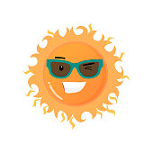 Funny toothy smiling sun in sunglasses emoji sticker on white. Smiley funny happy face flirting and giving winks with good expression, fine mood icon. Emoticons of summer design