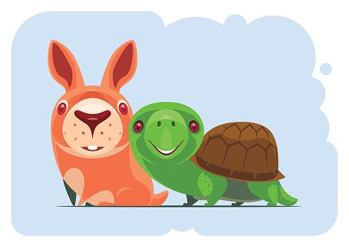 funny tortoise meeting bunny
