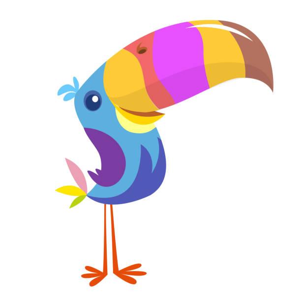 Lustige Tukane Vogelcartoon. Vector Illustration. – Vektorgrafik