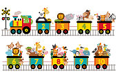 funny train with number of animals -  vector illustration, eps