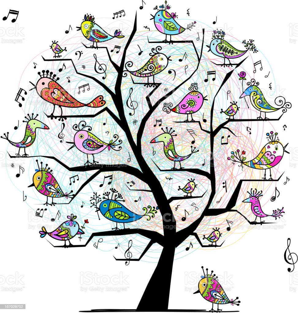 Funny tree with singing birds for your design royalty-free stock vector art