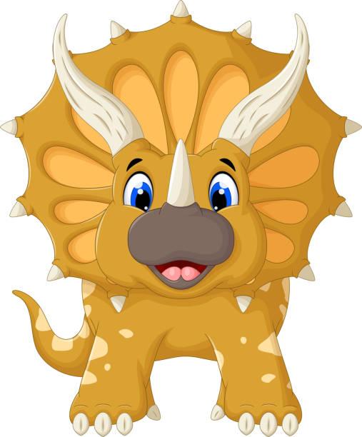 funny triceratops cartoon look at camera - smileys zum kopieren stock-grafiken, -clipart, -cartoons und -symbole