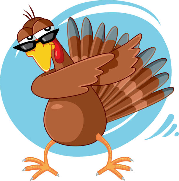 Funny Turkey Ready for Celebration Vector Cartoon Dabbing turkey exercising party dance for the holidays bird clipart stock illustrations