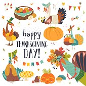 Funny turkeys with Thanksgiving theme on white background. Vector set