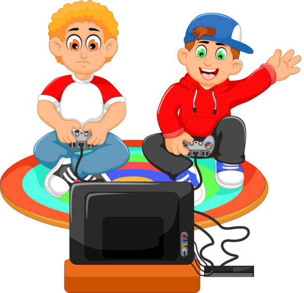 stockillustraties, clipart, cartoons en iconen met funny two boys playing playstation - playstation