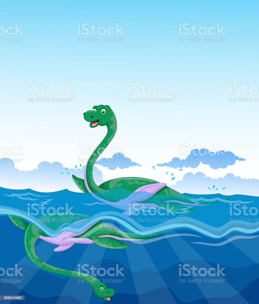 funny two dinosaur cartoon swimming in the sea vector art illustration