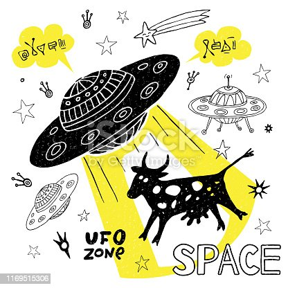 Funny ufo abduction cow space stars spaceship for cover, textile, t shirt.Hand drawn vector illustration