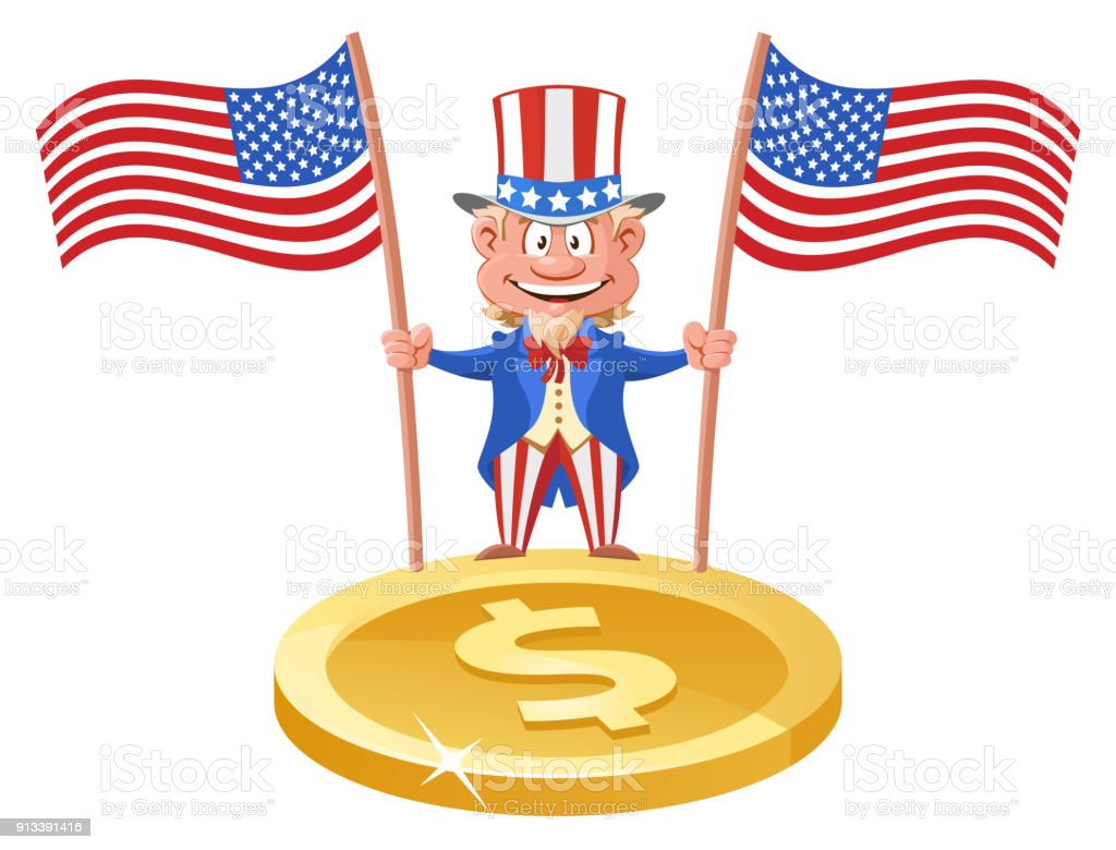 Funny Uncle Sam Holding American Flags Over The Symbol Of The Dollar