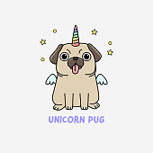 unicorn pug illustration
