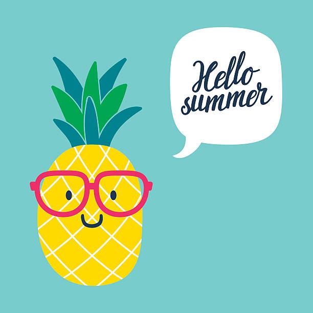 Funny vector background with pineapple in glasses. – artystyczna grafika wektorowa