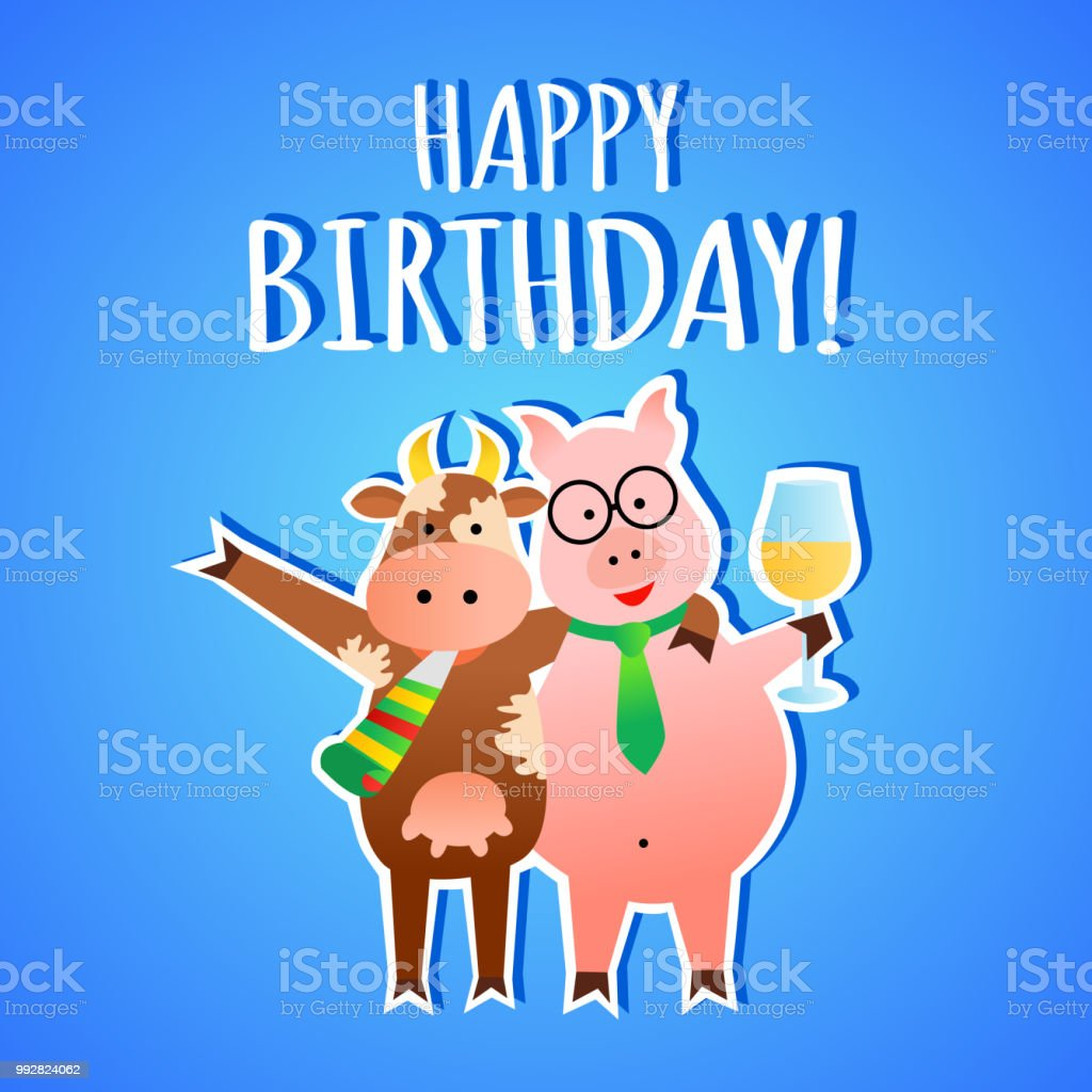Funny Vector Birthday Greeting Card With Animals Stock Vector Art